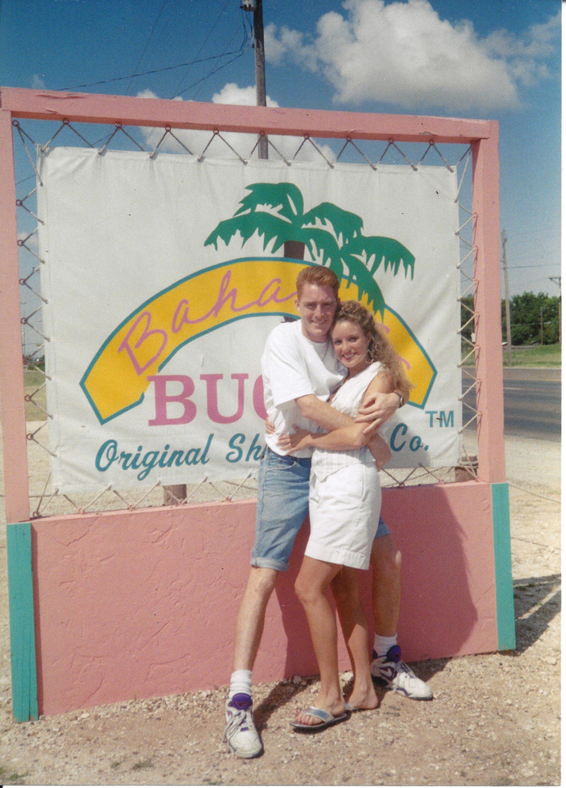 Bahama Bucks Founders Blake and Kippi Buchanan standing outside of their original store